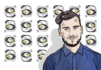 Illustration de Thibaud Moufourny devant un poster oeuf meurette