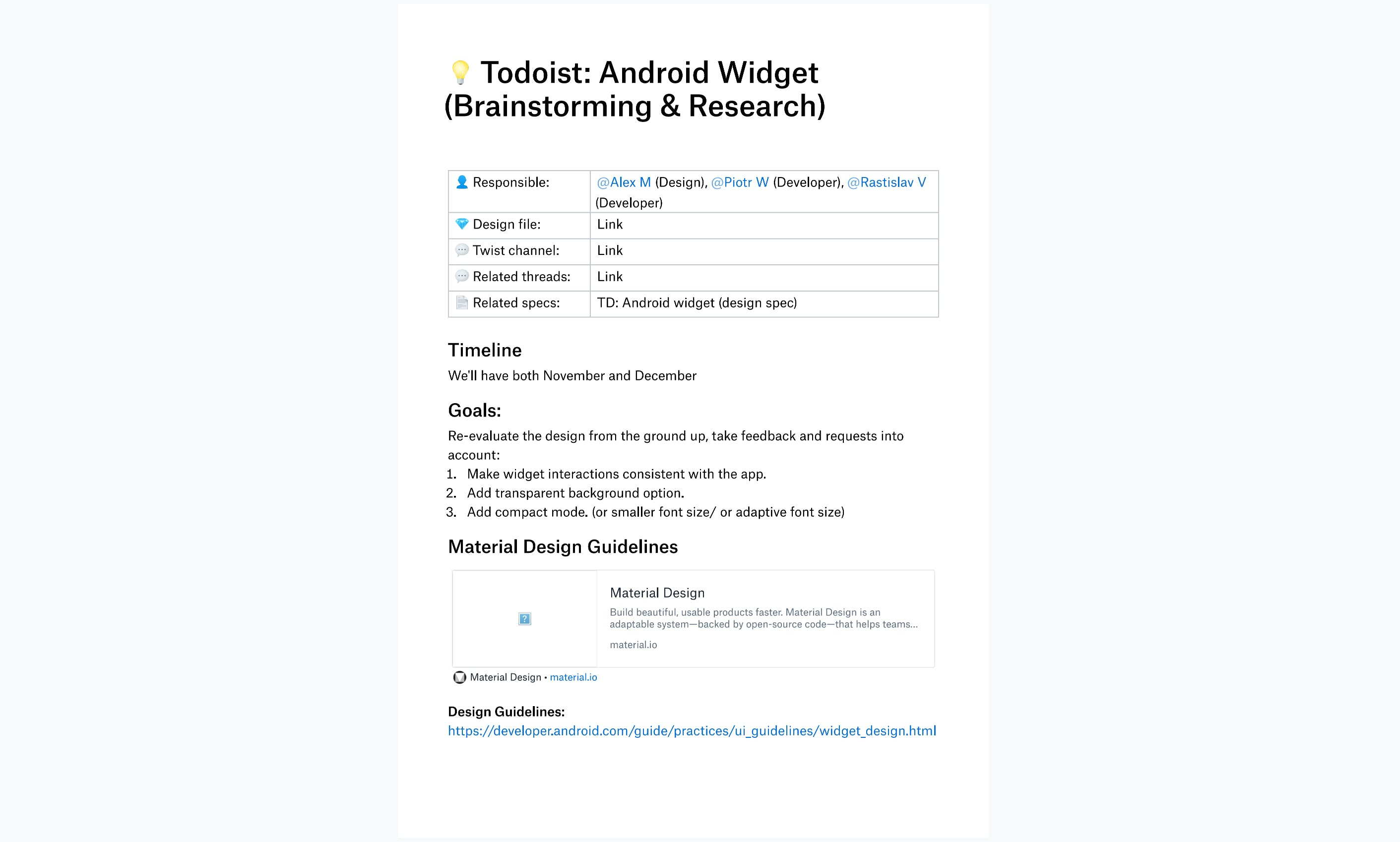 Brainstorming & Research document for Todoist's Android Widget