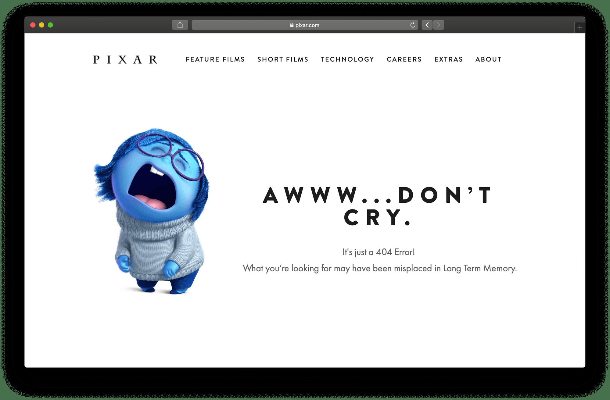 Pixar's 404 page