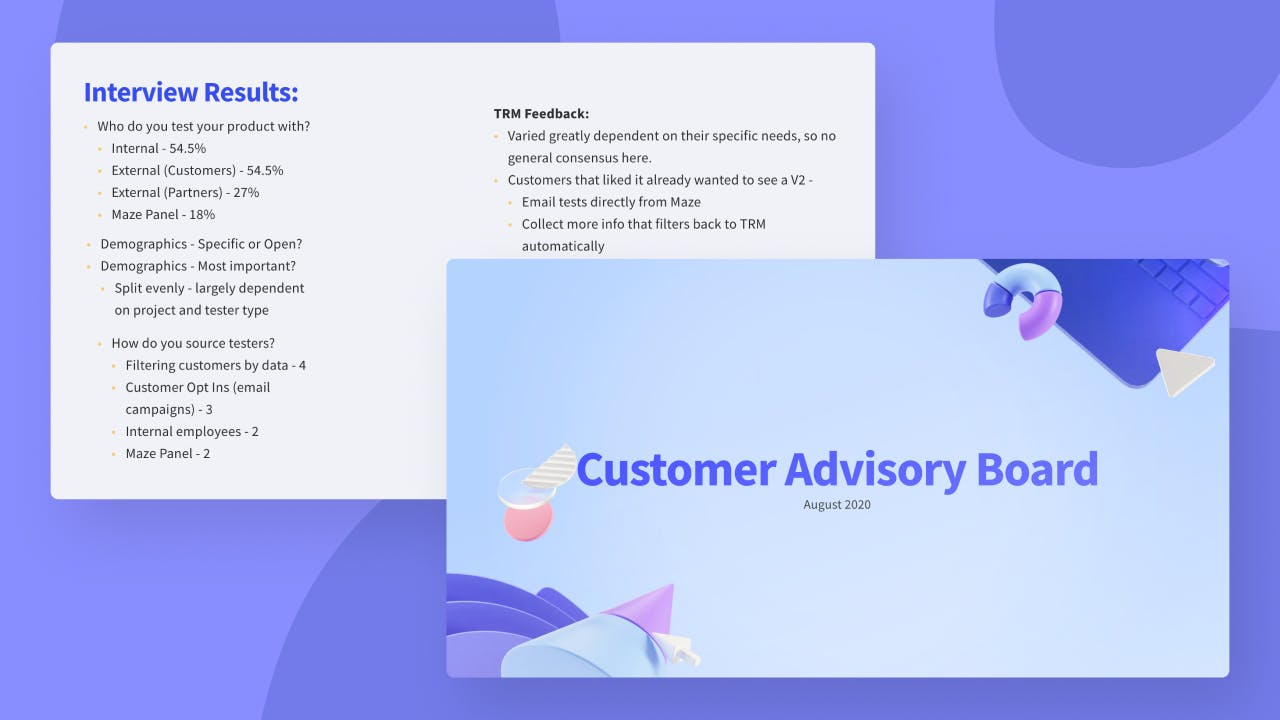 Customer Advisory Board deck (August 2020)