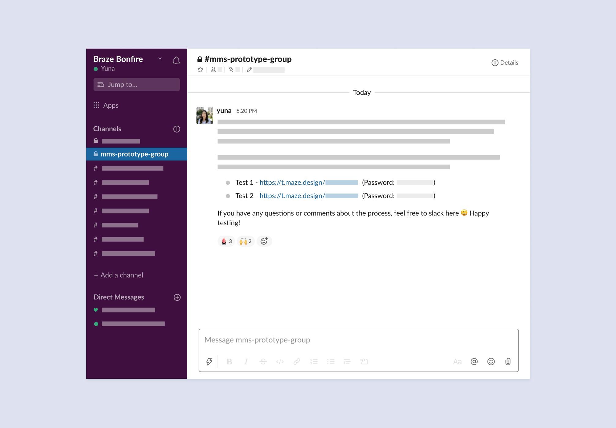 Braze uses a private Slack channel to invite testers
