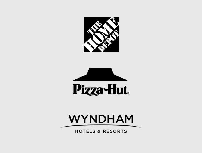 Home Depot, Pizza Hut, Wyndham Hotels & Resorts