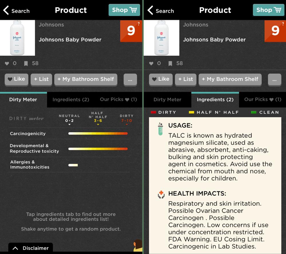 Screenshots of Johnson's Baby Powder on the Think Dirty app.