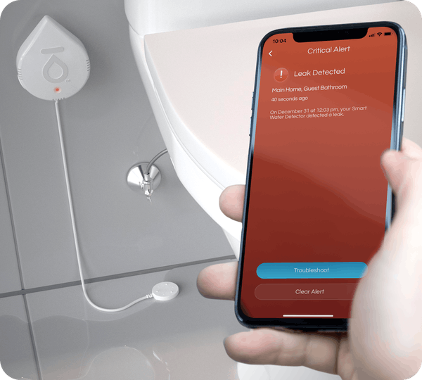 The Smart Water Detector will send alerts to your Flo by Moen App if any moisture is detected