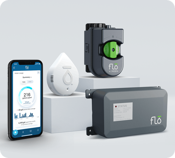 The full Flo by Moen Smart Home Water Security System