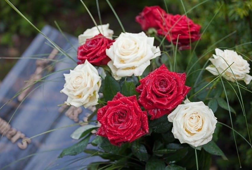 bouquet de deuil de roses rouges et blanches devant une plaque funéraire