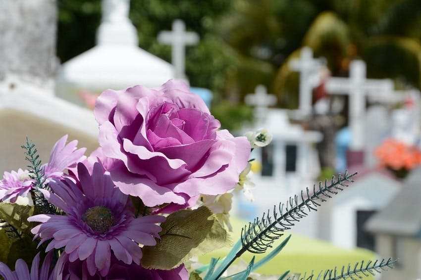 fleurs artificielles violettes en gros plan sur tombe dans un cimetière