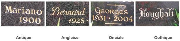 4 exemples de gravure sur pierre tombale