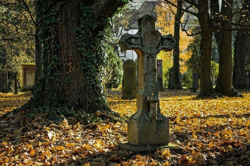 croix en pierre sur une tombe à l'automne recouverte de feuilles jaunes dans un cimetière avec des arbres