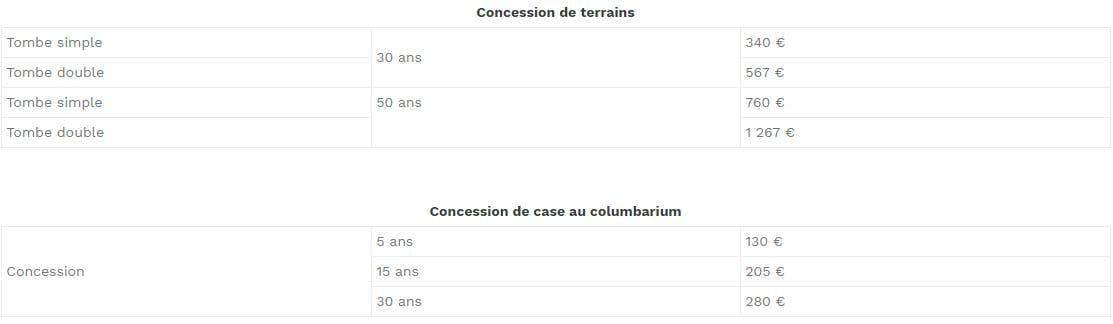 Tableau tarif concession terrain et columbarium : 130 € à 1 267 €