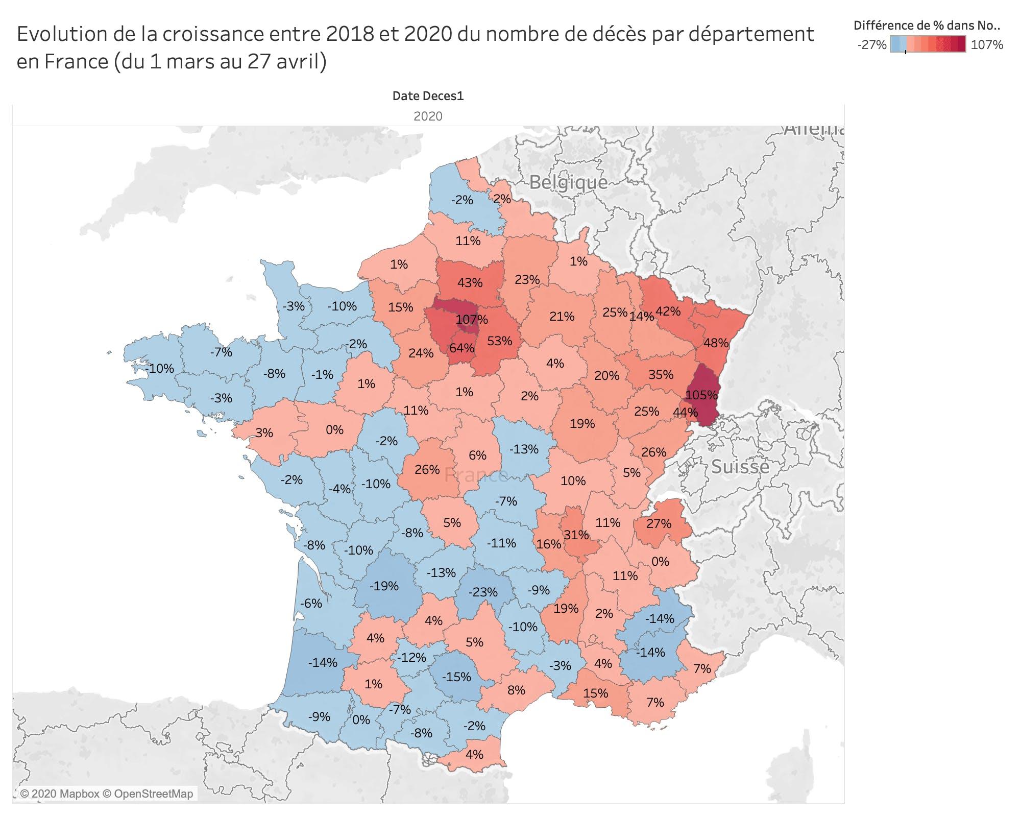 Evolution de la croissance entre 2018 et 2020 du nombre de décès par département en France (du 1 mars au 27 avril)