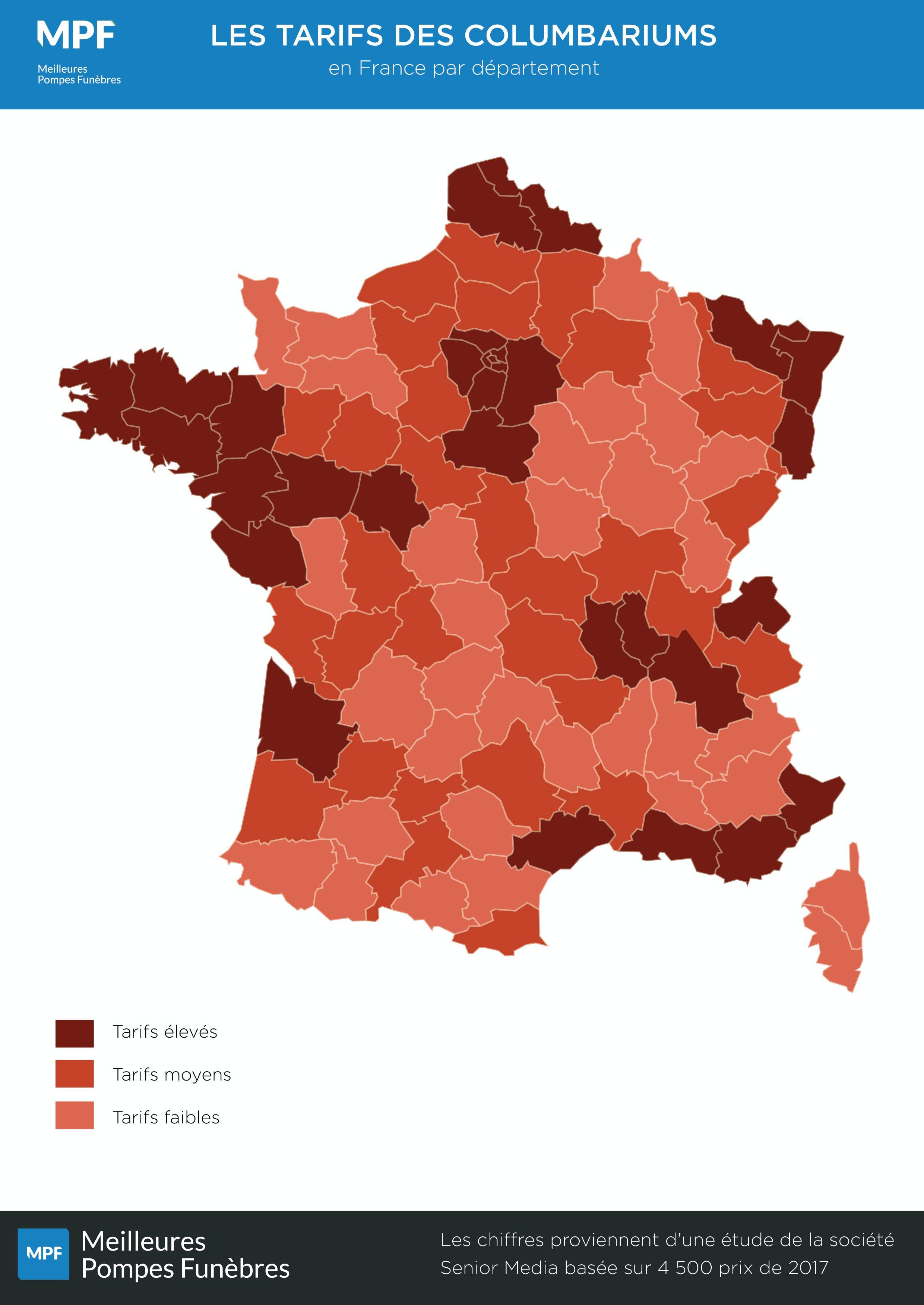 carte de la France avec les tarifs des columbariums  par département