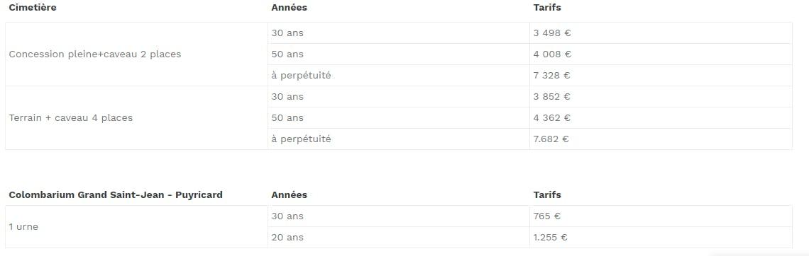tarif concession caveau 30 ans 3498€-50 ans 4008€-a perpétué 7328€
