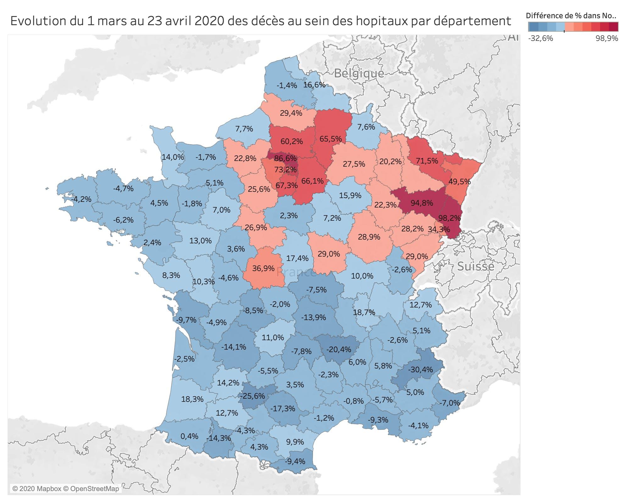 Évolution du 1 mars au 23 avril 2020 des décès au sein des hôpitaux par département