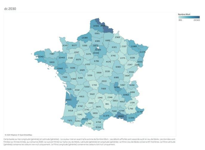 Carte du nombre de décès par département en 2030