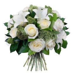 bouquet de deuil roses blanches et lys