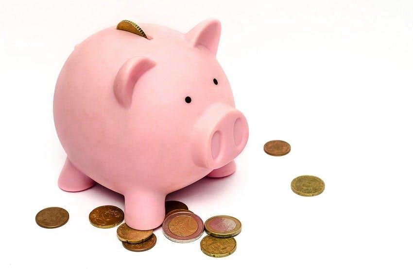 tire-lire en forme de cochon et quelques pièces de monnaie autour