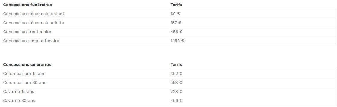 Tableau tarif concessions funéraires: 69 € à  1458 €