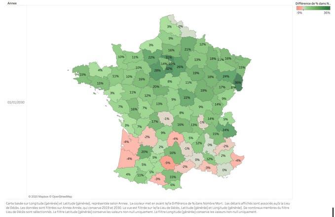 Variation du nombre de décès en France par département entre 2019 et 2030