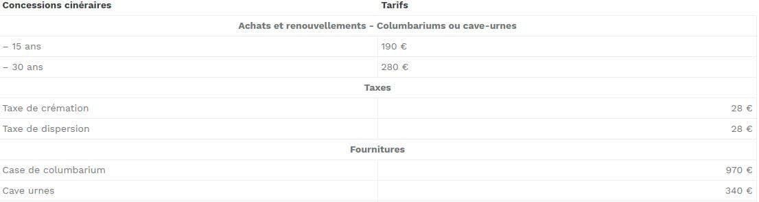 Concession Caen: 190 € (-15 ans) et 280 € (-30ans)