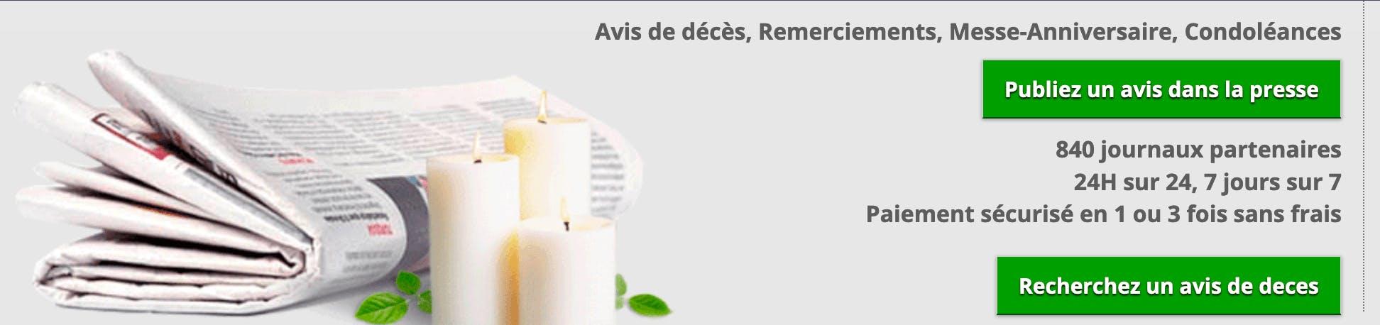 Image de l'offre avis-de-deces.com pour la publication d'avis de décès dans la presse