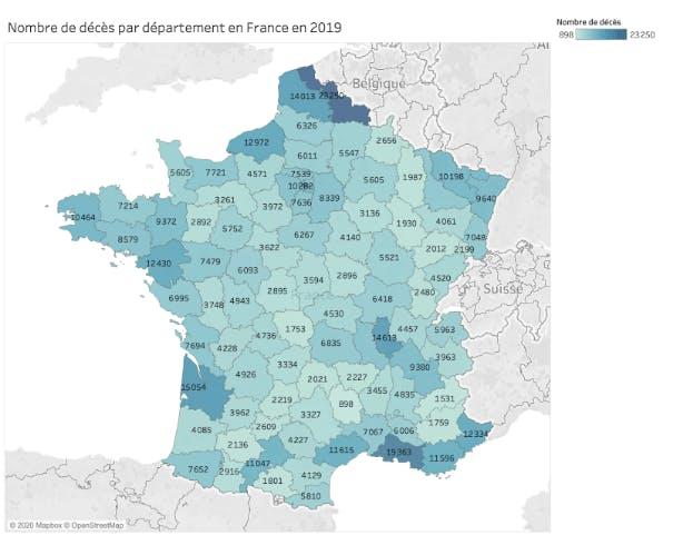 Nombre de décès par département en France en 2019
