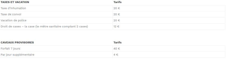 Tableau tarif CAVEAUX PROVISOIRES: 4 € à 40 €