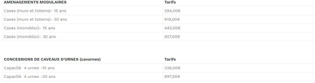 Tableau concession caveau d'urnes: 338,00€ et 697,00€