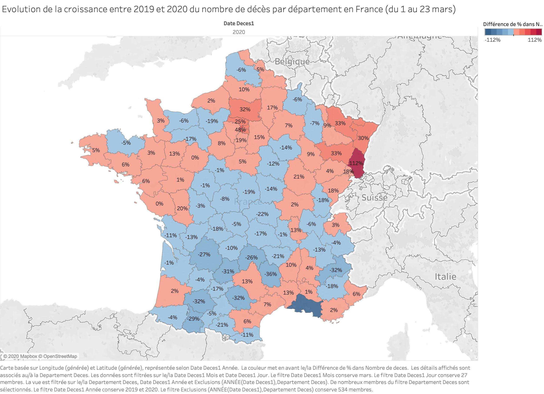 Evolution de la croissance entre 2019 et 2020 du nombre de décès par département en France (du 1 au 27 mars)