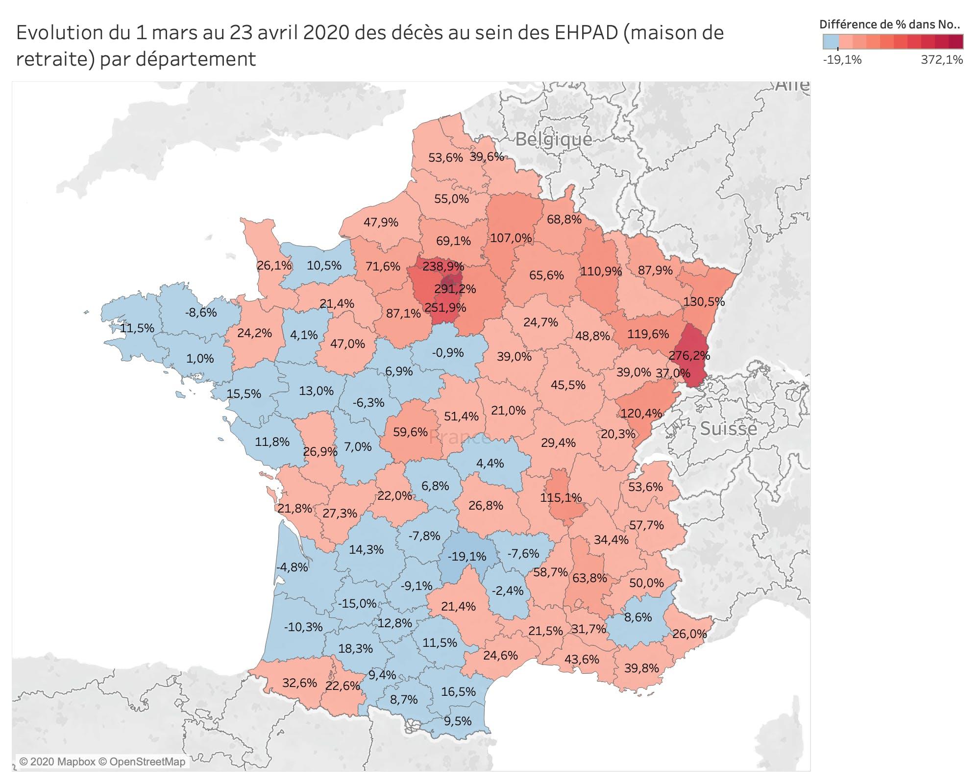 Evolution du 1 mars au 23 avril des décès au sein des EHPAD (maison de retraite) par département