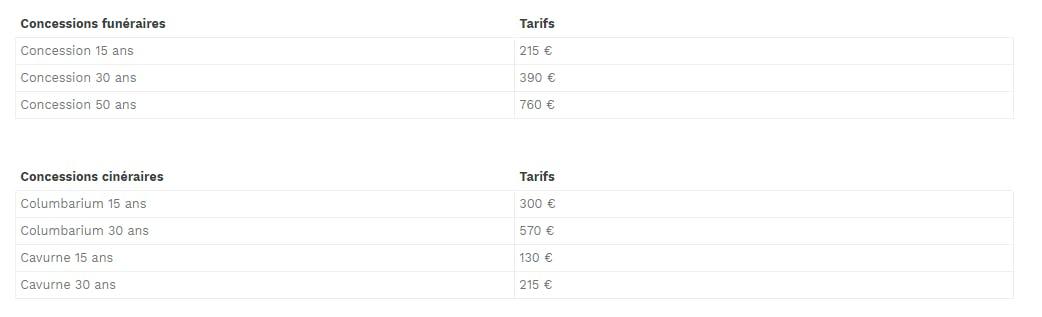 Concession 15 ans215 € Concession 30 ans 390 € Concession 50 ans 760 €