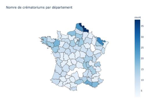 Nombre de crématoriums par département