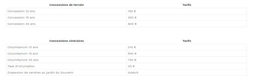 concession 10 ans 150€, 15 ans 300€