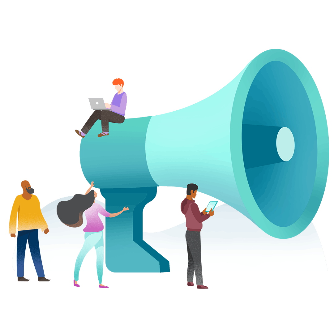 Graphic illustration of people in front of an oversize megaphone