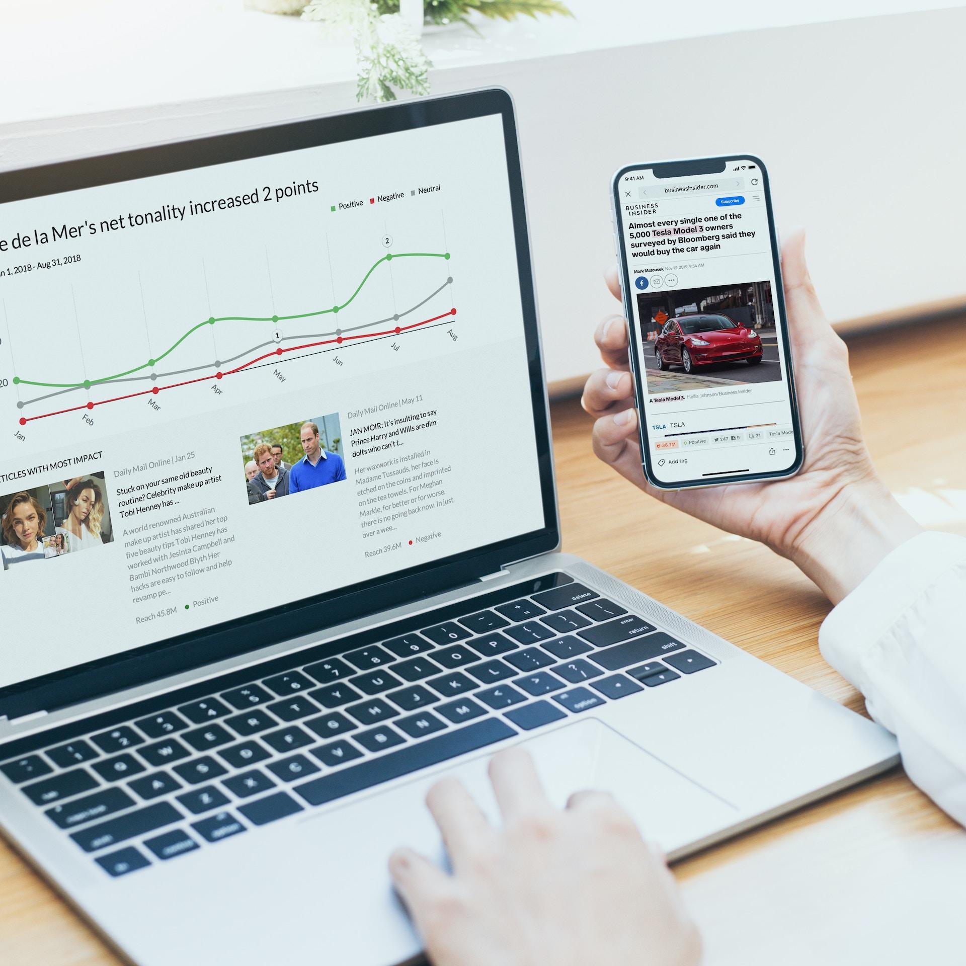 Mediaseuranta tietokoneella ja puhelimen näytöllä