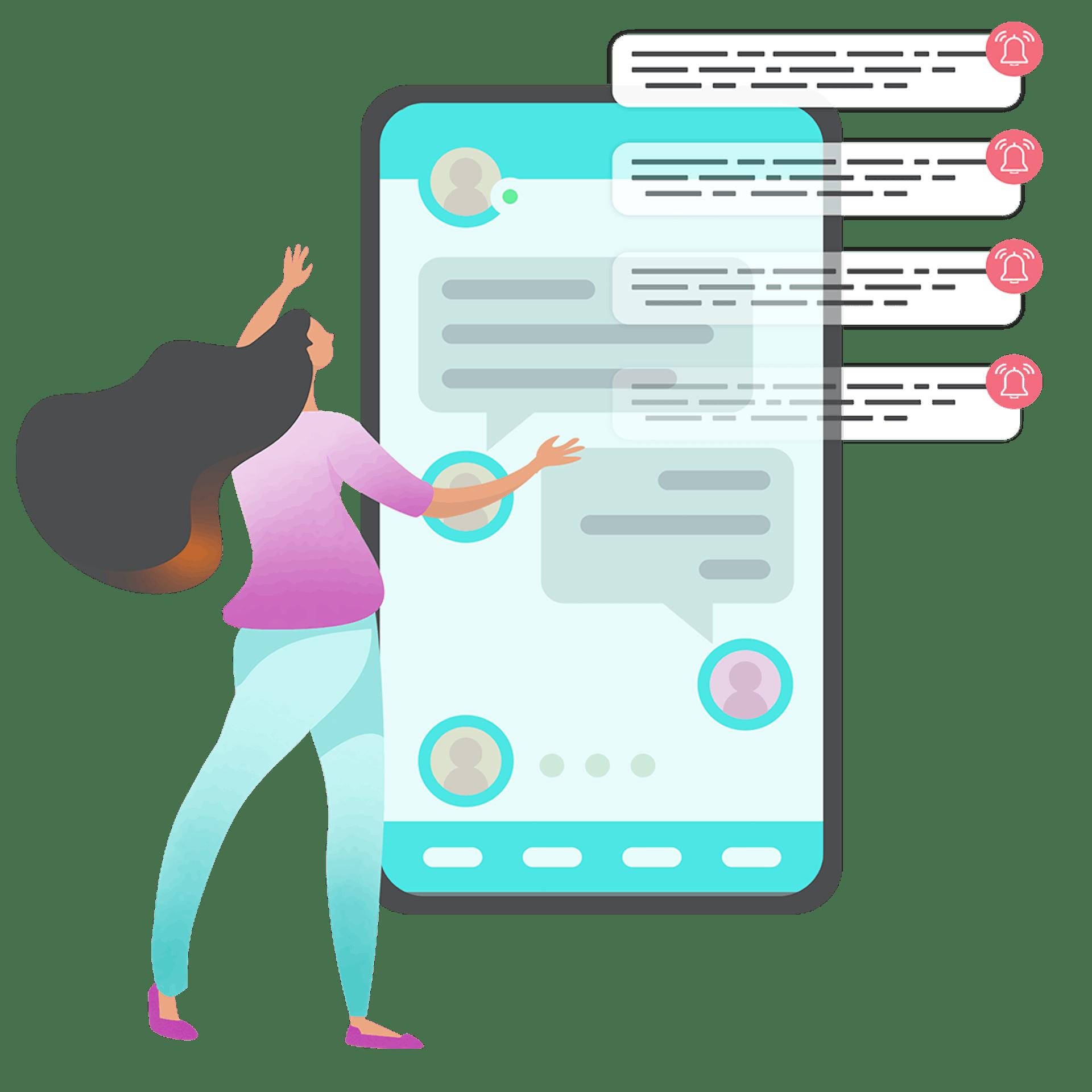 Illustration graphique d'une femme devant un téléphone portable surdimensionné