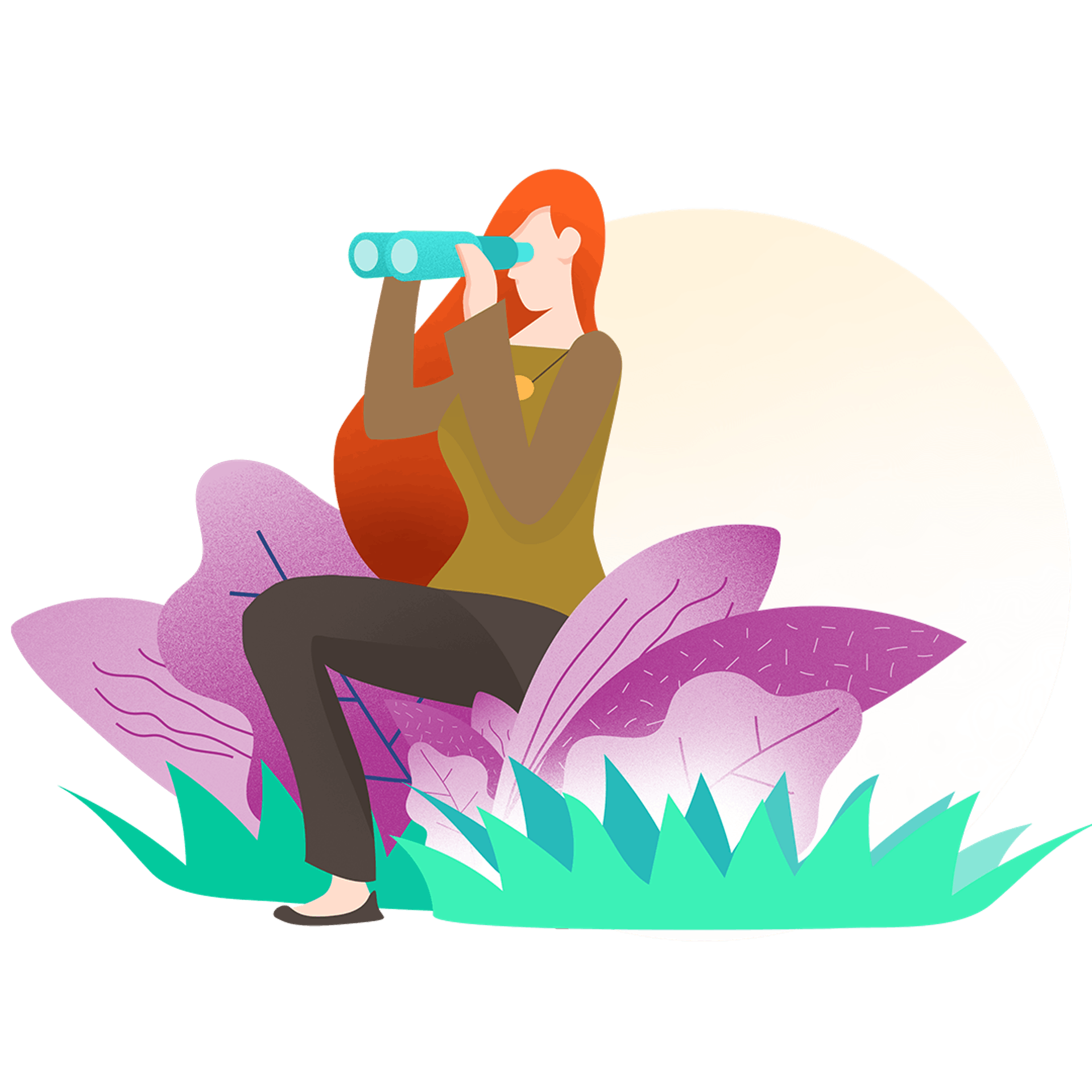 Graphic illustration of woman looking into a telescope