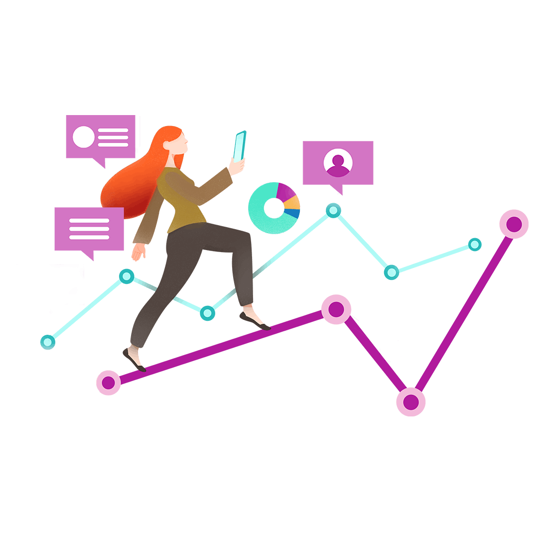 Graphic illustration of a woman balancing on a graph