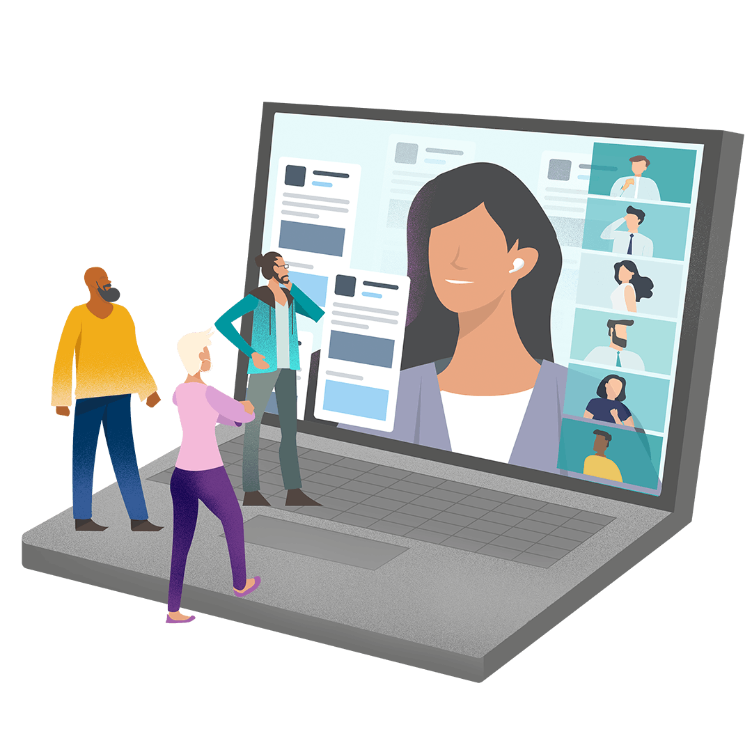 Graphic illustration of people exploring user generated content