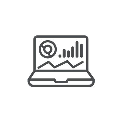 laptop with analytics icon