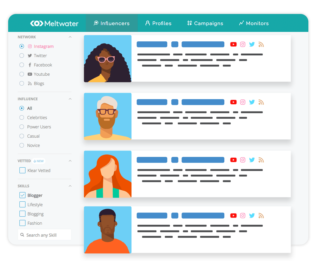 Illustration of Meltwaters Influencer Discovery