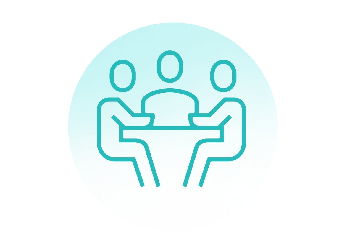 Graphic illustration of people sitting around a table