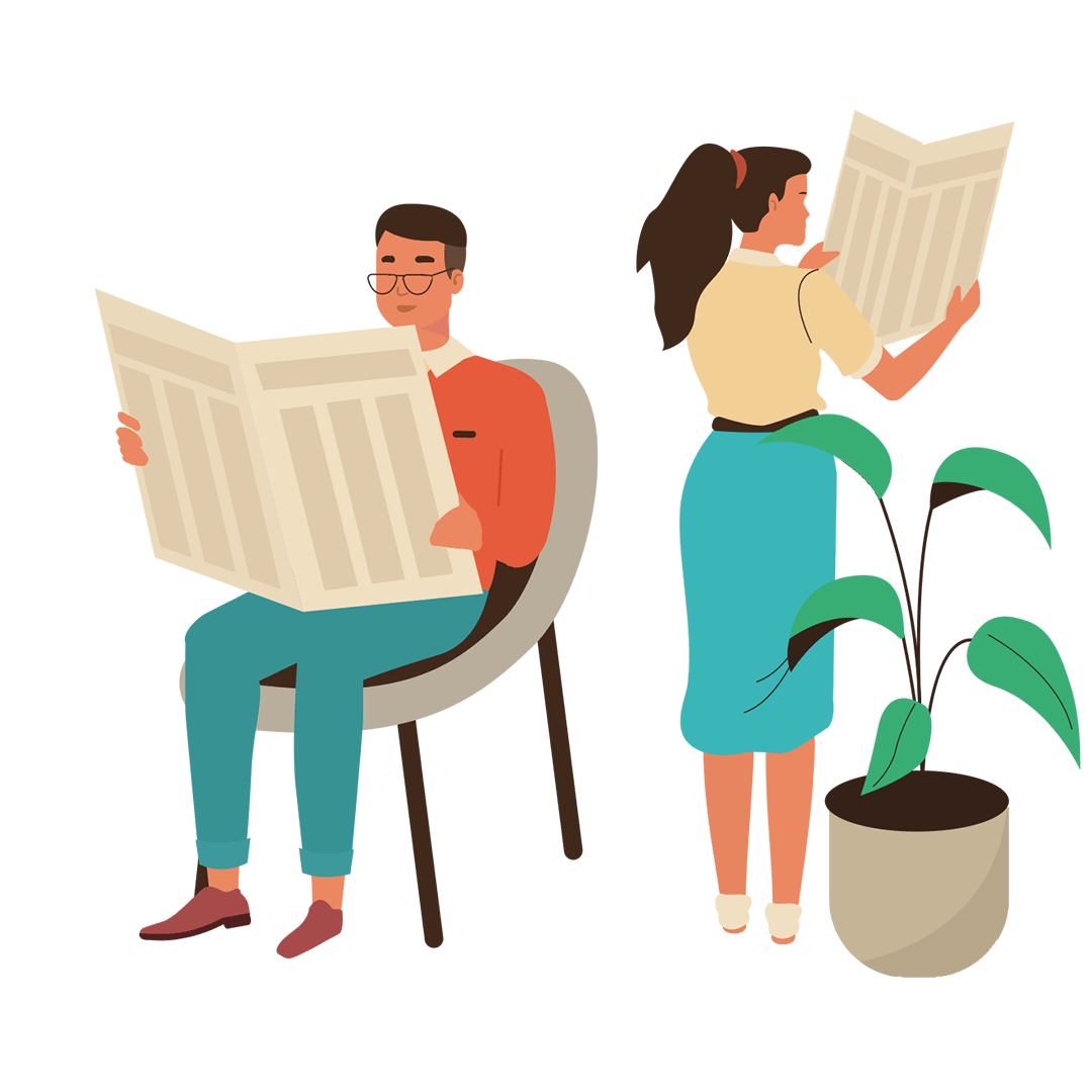 Graphic illustration of a couple reading newspapers
