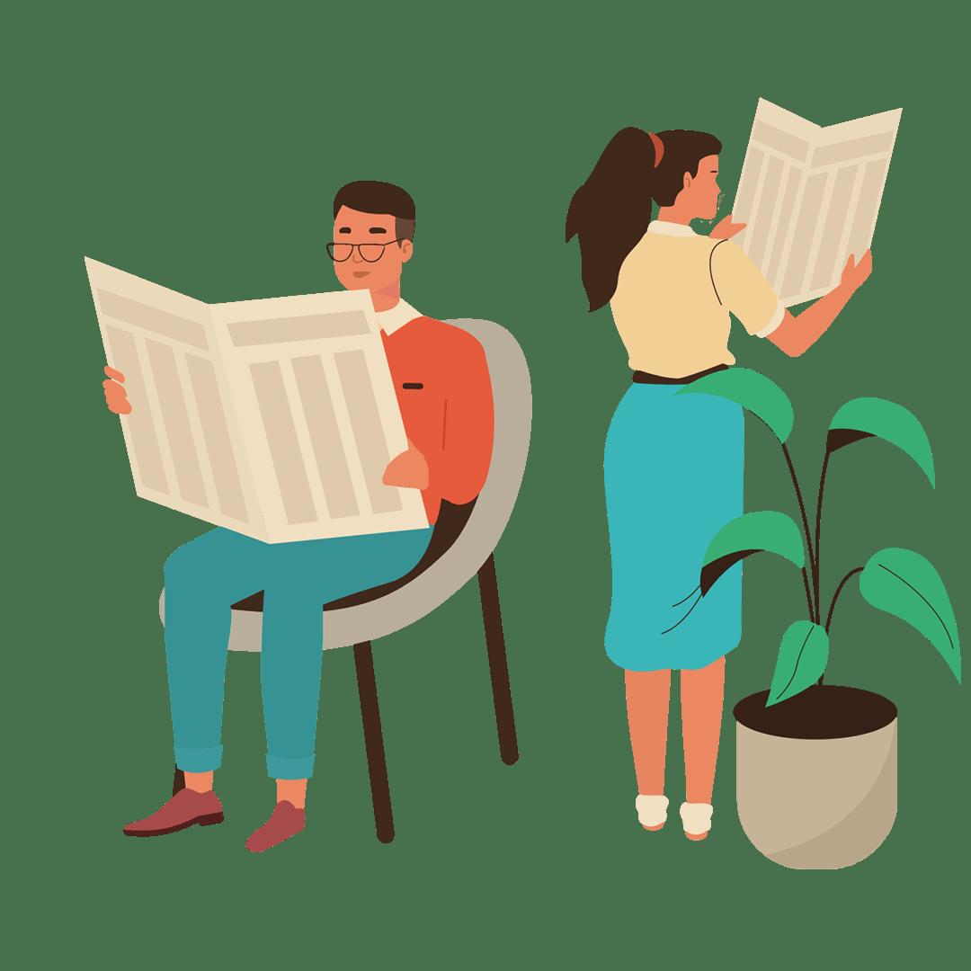 Illustration graphique d'un couple lisant des journaux