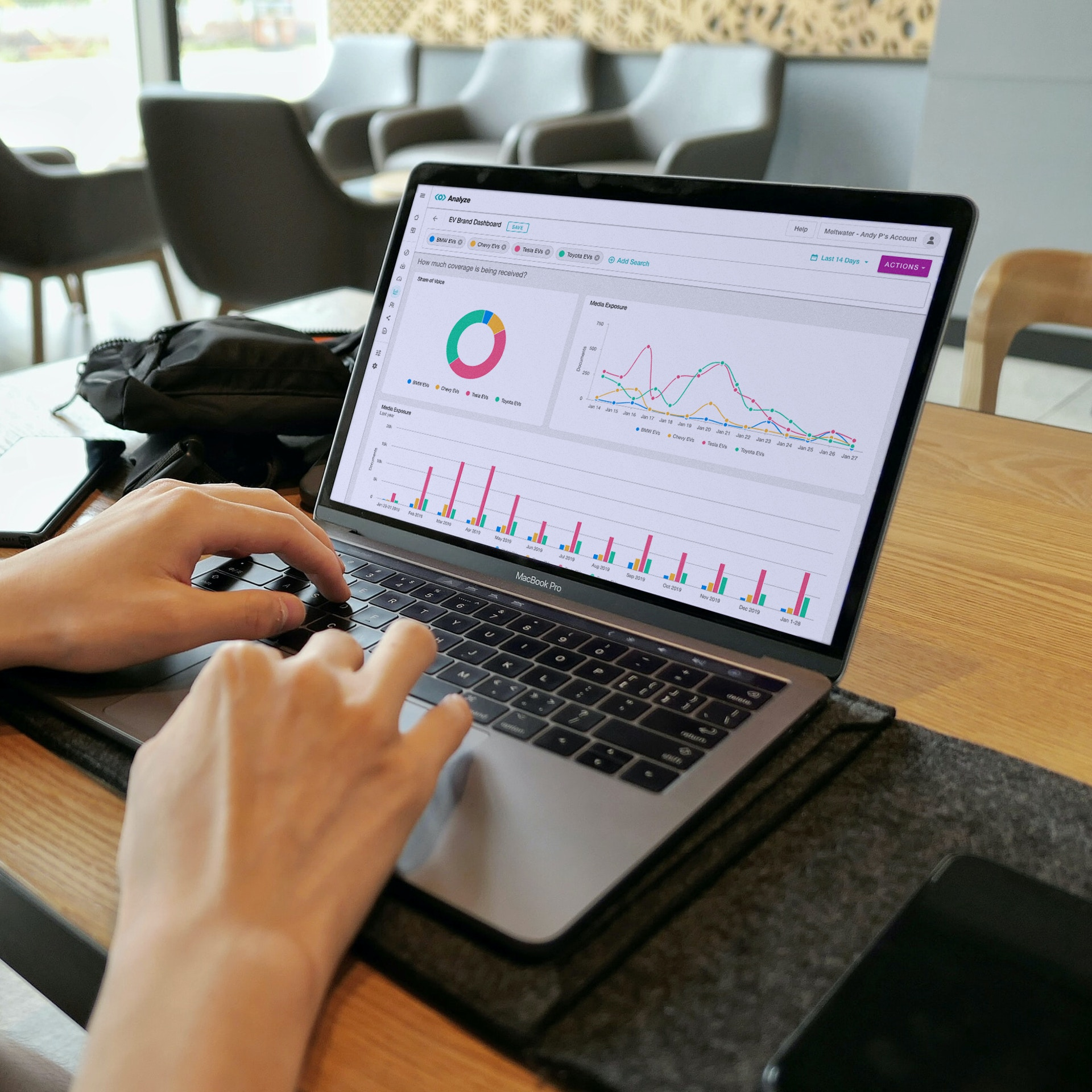 Laptop with Meltwater Analyze for competitor analysis