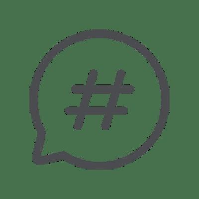 hashtag speech bubble icon