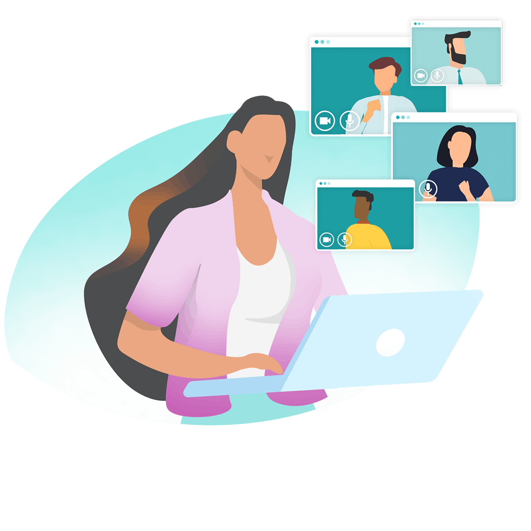 Graphic illustration of a woman in front of her laptop doing video calls