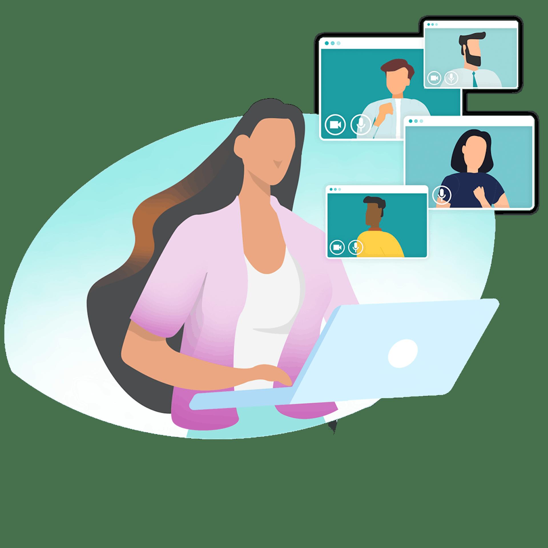 Illustration graphique d'une femme devant son ordinateur portable en train de passer des appels vidéo
