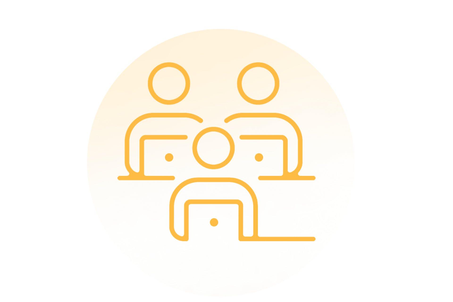 Illustration graphique de personnes devant des ordinateurs portables
