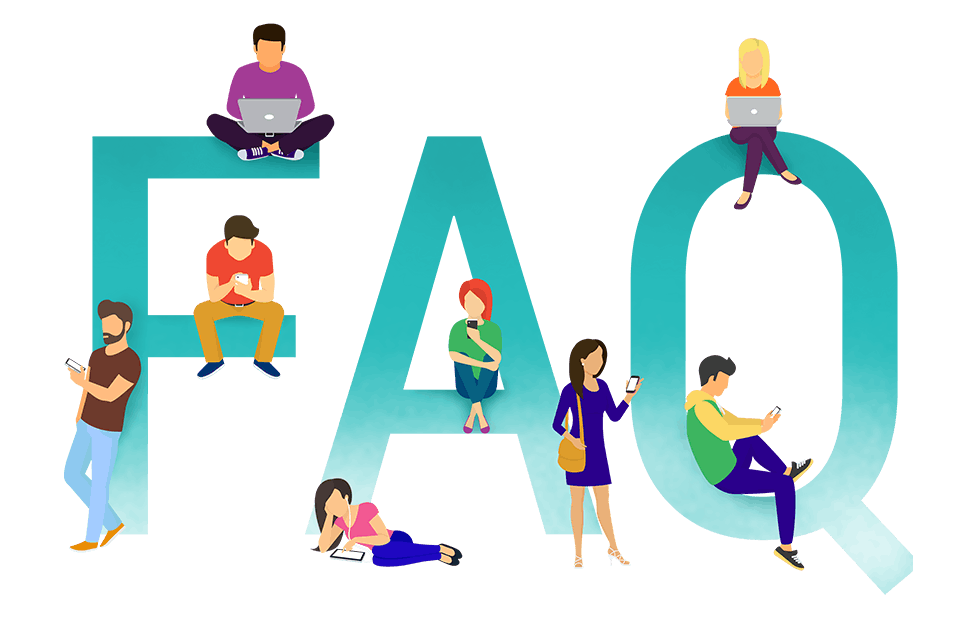 Graphic illustration of people in front of FAQ letters